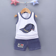 2-pieces Baby Boy Plaid Print Cotton Set