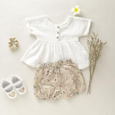 2-pieces Baby Girl Ruffle Floral Print Cotton Set