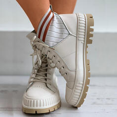 Women's Cloth Flat Heel Ankle Boots With Lace-up Elastic Band shoes