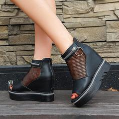 Women's Mesh PU Wedge Heel Platform Wedges Boots Peep Toe Ankle Boots With Zipper Hollow-out shoes