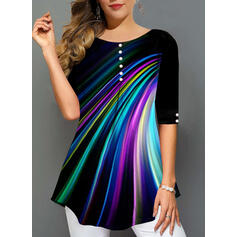 Print Round Neck 1/2 Sleeves Button Up Casual Blouses