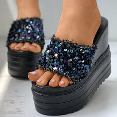 Women's PU Wedge Heel Sandals Platform Wedges Peep Toe Slippers With Sparkling Glitter shoes