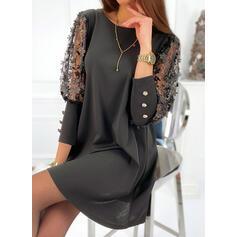 Floral/Solid 3/4 Sleeves Shift Above Knee Little Black/Elegant Tunic Dresses