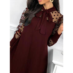 Solid/PolkaDot Long Sleeves/Puff Sleeves Shift Above Knee Little Black/Party Dresses