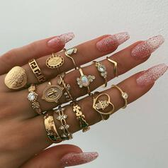 Vintage Charming Alloy Rings (Set of 15)