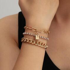 Locks Shaped Link & Chain Layered Alloy Bracelets (Set of 3)