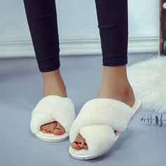 Women's Suede Leatherette Flat Heel Sandals Peep Toe Slippers With Faux-Fur shoes