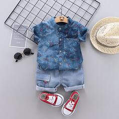 2-pieces Baby Boy Button Solid Denim Cotton Set