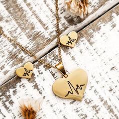 Heart Valentine's Day ECG Alloy Women's Jewelry Sets 3 PCS