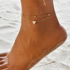 Simple Charming Fancy Layered Alloy With Heart Anklets 2 PCS