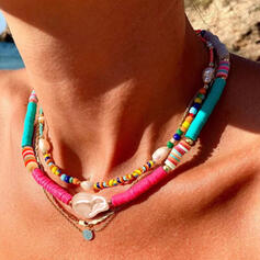 Boho Layered Alloy Soft Clay With Imitation Pearl Shell Necklaces (Set of 3)