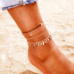 Link & Chain Layered Alloy With Tassels Anklets (Set of 4)