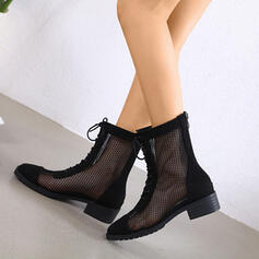Women's PU Low Heel Martin Boots High Top Round Toe With Zipper Lace-up Hollow-out Breathable shoes