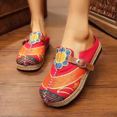 Women's Cloth Microfiber Espadrille Heel Flats Low Top With Flower shoes