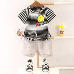 2-pieces Baby Boy Cartoon Striped Cotton Set