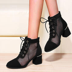 Women's Cloth Mesh Chunky Heel Closed Toe Boots Ankle Boots Round Toe With Lace-up Hollow-out Breathable shoes