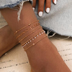 Simple Link & Chain Layered Alloy With Tassels Anklets (Set of 5)