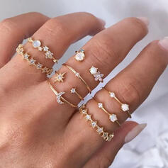 Shining Hottest Alloy With Star Moon Rhinestones Rings (Set of 9)