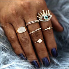 Exotic Vintage Alloy With Eye Rings (Set of 5)