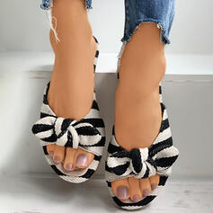Women's PU Flat Heel Sandals Flats Peep Toe Slippers With Bowknot Hollow-out Striped shoes