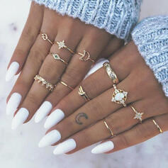 Pretty Alloy With Star Moon Heart Eye Rings (set of 13)
