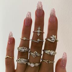 Exotic Cross Alloy With Rhinestones Rings (Set of 11)