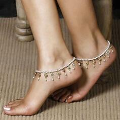 Fashionable Boho Alloy Rhinestones Imitation Pearls With Tassels Imitation Pearl Anklets
