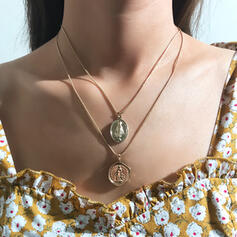 Boho Layered Alloy With Coin Jewelry Sets Necklaces Earrings (Set of 4)