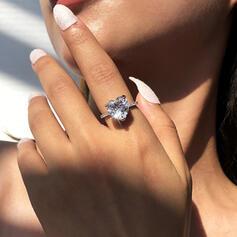 Shining Simple Heart Alloy Zircon Rings