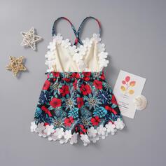 Baby Girl Floral Lace Print Cotton Jumpsuit