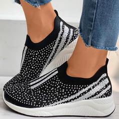 Women's Cloth Mesh Flat Heel Flats With Rhinestone Splice Color shoes
