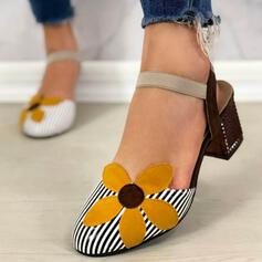Women's Leatherette Chunky Heel Pumps Closed Toe With Flower Striped shoes