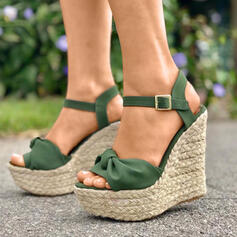 Women's PU Wedge Heel Sandals Peep Toe With Button shoes