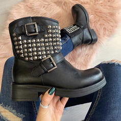 Women's PU Chunky Heel Martin Boots Round Toe With Rivet Buckle Solid Color shoes