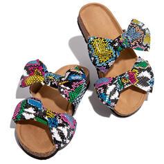 Women's PU Flat Heel Peep Toe Slippers With Bowknot Animal Print shoes