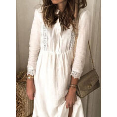 Lace/Solid Long Sleeves Shift Casual Midi Dresses
