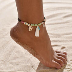 Fashionable Boho Alloy Crystal Braided Rope With Tassels Shell Beach Jewelry Anklets