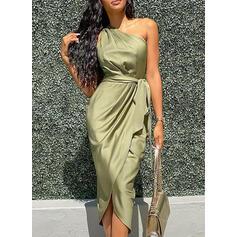 Solid Sleeveless Bodycon Party Midi Dresses