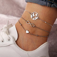 Infinity Layered Map Design Alloy With Heart Anklets (Set of 3)