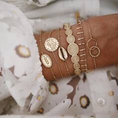 Exotic Vintage Boho Layered Alloy With Shell Coin Bracelets (Set of 6)