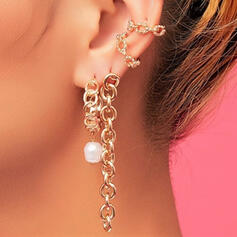 Hottest Link & Chain Alloy With Imitation Pearl Earrings (Set of 4)