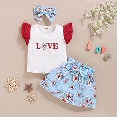 3-pieces Baby Girl Letter Bowknot Floral Print Cotton Set