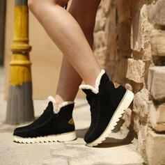 Women's Suede Flat Heel Flats With Splice Color shoes