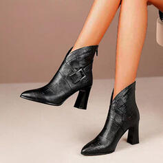 Women's PU Chunky Heel Ankle Boots Pointed Toe With Buckle Zipper Lace-up shoes