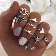 Vintage Boho Alloy With Star Leaf Starfish Rings (Set of 8)