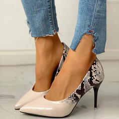 Women's PU Stiletto Heel Pointed Toe With Animal Print Splice Color shoes