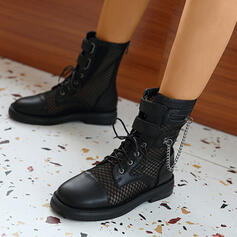 Women's PU Low Heel Martin Boots High Top Round Toe With Zipper Lace-up Breathable shoes