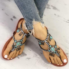 Women's PU Flat Heel Sandals With Rhinestone shoes