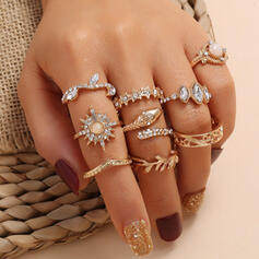 Shining Star Alloy With Rhinestones Rings (Set of 9)