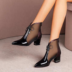 Women's Leatherette Chunky Heel Closed Toe Ankle Boots Pointed Toe With Lace-up Hollow-out shoes